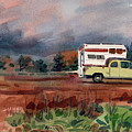 Camper on Pacific Coast Highway Print by Donald Maier