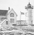 Cape Neddick Light House Drawing Poster by Dominic White