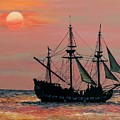 Caribbean Pirate Ship Poster by Susan DeLain