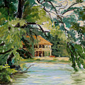 Cascadilla Boathouse Ithaca New York Print by Ethel Vrana
