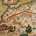 Catalan Map of Europe and North Africa Charles V of France in 1381  Print by Abraham Cresques