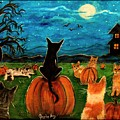 Cats in pumpkin patch Poster by Paintings by Gretzky