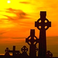 Celtic Crosses in Graveyard Poster by Carl Purcell