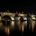 Charles bridge at night Poster by Michal Boubin