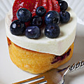 Cheese cream cake with fruit Poster by Garry Gay
