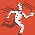 Chef Cook Baker Running With Soup Bowl Poster by Aloysius Patrimonio