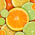 Colorful Round Citrius Fruit Background Poster by Angela Waye
