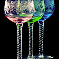 Colorful wine glasses Print by Gert Lavsen