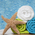 Colourful towels Print by Amanda And Christopher Elwell