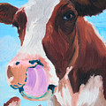 Cow Picking His Nose Poster by Michael Lee