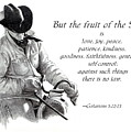 Cowboy With Fruit of Spirit Scripture Print by Joyce Geleynse