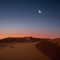 Crescent Moon Over Dunes Poster by Photo by John Quintero