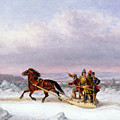 Crossing the Saint Lawrence from Levis to Quebec on a Sleigh Print by Cornelius Krieghoff