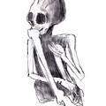 crouched skeleton Print by Michal Boubin