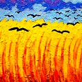Crows Over Vincent's Field Print by John  Nolan