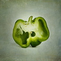 Cut green bell pepper Print by BERNARD JAUBERT