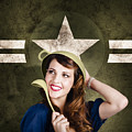 Cute military pin-up woman on army star background Print by Ryan Jorgensen