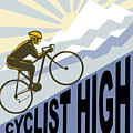 Cyclist racing bike Poster by Aloysius Patrimonio