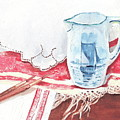 Delft and linens Print by Kathryn B