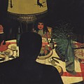 Dinner by Lamplight Print by Felix Edouard Vallotton