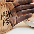 Dirty hand with soap Poster by Blink Images