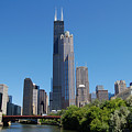 Downtown Chicago Skyline - View Along the River Print by Suzanne Gaff