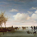 Dutch landscape with Skaters Poster by Salomon van Ruysdael