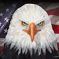 Eagle And The Flag Print by Arline Wagner