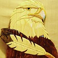 Eaglehead with Two Feathers Print by Russell Ellingsworth
