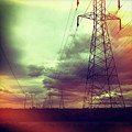 Electricity Pylons Print by Mardis Coers