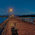 Empty Pier Glow Poster by Connie Cooper-Edwards