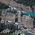 Fairmont Banff Springs Hotel with The Bow River Falls Banff Alberta Canada Print by George Oze