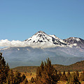 Family Portrait - Mount Shasta and Shastina Northern California Print by Christine Till