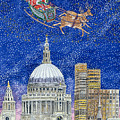 Father Christmas Flying over London Poster by Catherine Bradbury