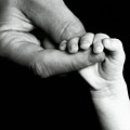 Father holding hand of baby Print by Sami Sarkis