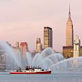 Fire Boat and Manhattan Skyline I Poster by Clarence Holmes