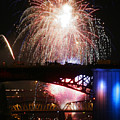 FIREWORKS OVER THE RIVER Poster by Keith Dillon