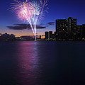 Fireworks over Waikiki Poster by Brandon Tabiolo - Printscapes