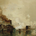 First Fight between Ironclads Print by Julian Oliver Davidson