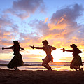 Five Hula Dancers At Sunset Print by David Olsen
