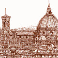 Florence Duomo in red Poster by Lee-Ann Adendorff