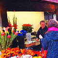 Flower Stand on Stockton and Geary Street . Photoart Print by Wingsdomain Art and Photography