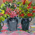 Flowers and Pitchers Poster by David Lloyd Glover