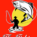 Fly fisherman catching trout Poster by Aloysius Patrimonio
