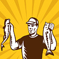 Fly Fisherman holding bass fish catch Print by Aloysius Patrimonio