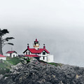 Fog comes rolling in - Battery Point Lighthouse - Crescent City CA Poster by Christine Till