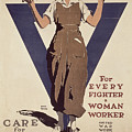 For Every Fighter a Woman Worker Print by Adolph Treidler