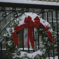Fresh Snow Covers A Christmas Wreath Poster by Stephen St. John