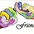 FRIENDS . . . An American Sign Language Painting Print by Eloise Schneider
