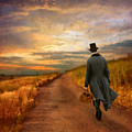 Gentleman Walking on Rural Road Print by Jill Battaglia